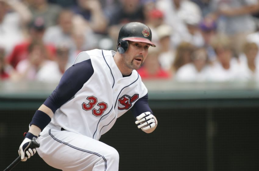 CLEVELAND - JUNE 3: Trot Nixon of the Cleveland Indians bats during the game against the Detroit Tigers at Jacobs Field in Cleveland, Ohio on June 03, 2007. The Tigers defeated the Indians 9-2. (Photo by John Reid III/MLB Photos via Getty Images)