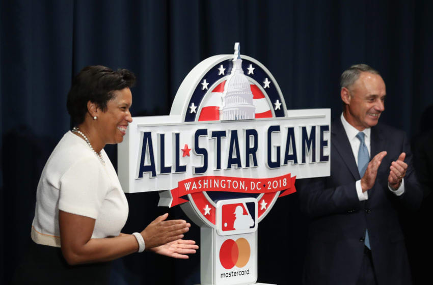 WASHINGTON, DC - JULY 26: Mayor Muriel Bowser and MLB Major League Baseball Commissioner Rob Manfred unveil the logo for the 2018 All Star Game that will be held at Nationals Park next year before the start of the Washington Nationals and Milwaukee Brewers game on July 26, 2017 in Washington, DC. (Photo by Rob Carr/Getty Images)