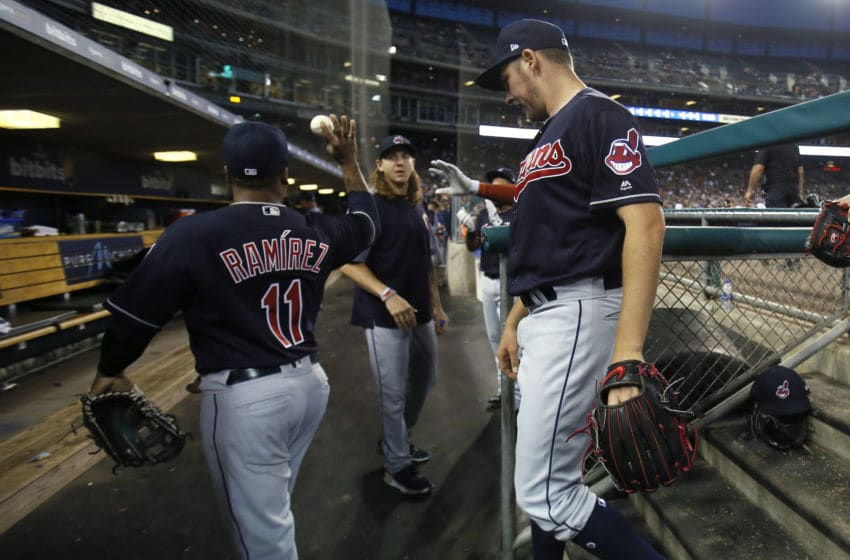 DETROIT, MI - JUNE 08: Starting pitcher Trevor Bauer #47 of the Cleveland Indians, right, returns to the dugout with Jose Ramirez #11 of the Cleveland Indians after pitching the eighth inning at Comerica Park on June 8, 2018 in Detroit, Michigan. Bauer allowed one run on seven hits, striking out 12, in a 4-1 win over the Tigers. (Photo by Duane Burleson/Getty Images)