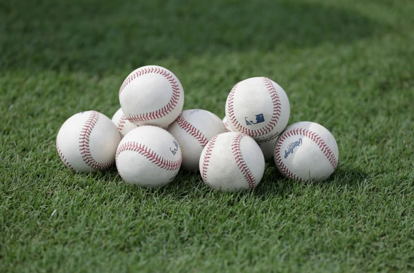 FORT BRAGG, NC - JULY 03: A detailed view of baseballs prior to the game between the Miami Marlins and Atlanta Braves on July 3, 2016 in Fort Bragg, North Carolina. The Fort Bragg Game marks the first regular season MLB game ever to be played on an active military base. (Photo by Streeter Lecka/Getty Images)