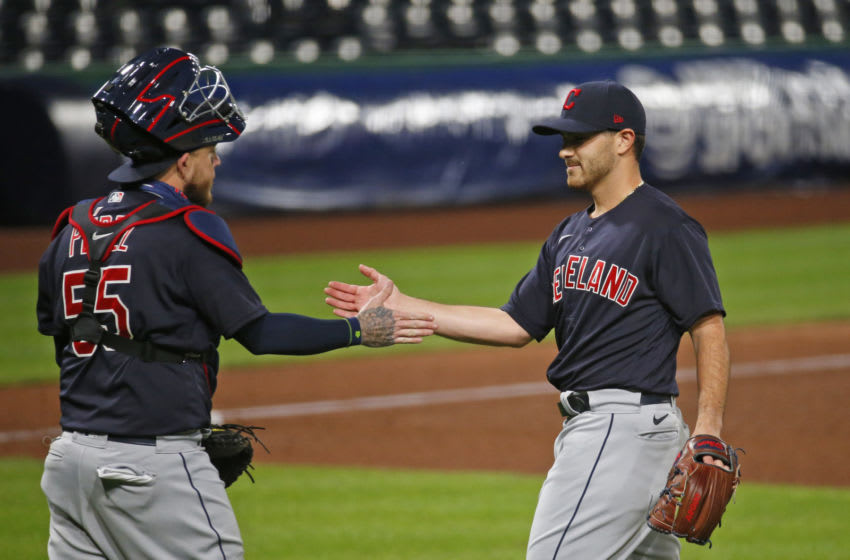 PITTSBURGH, PA - AUGUST 19: Aaron Civale #43 celebrates with Roberto Perez #55 of the Cleveland Indians after defeating the Pittsburgh Pirates 6-1 at PNC Park on August 19, 2020 in Pittsburgh, Pennsylvania. (Photo by Justin K. Aller/Getty Images)