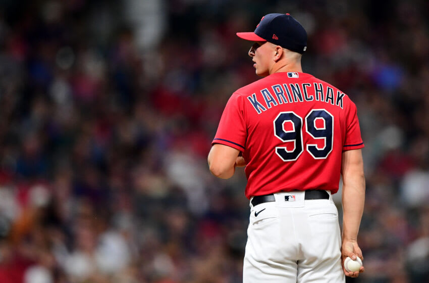 James Karinchak #99 of the Cleveland Indians (Photo by Emilee Chinn/Getty Images)