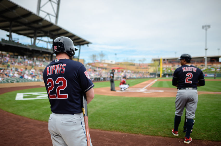 SCOTTSDALE, ARIZONA - MARCH 07: Jason Kipnis #22 and Leonys Martin #2 prepare in the on deck circle during the spring training game against the Arizona Diamondbacks at Salt River Fields at Talking Stick on March 07, 2019 in Scottsdale, Arizona. (Photo by Jennifer Stewart/Getty Images)