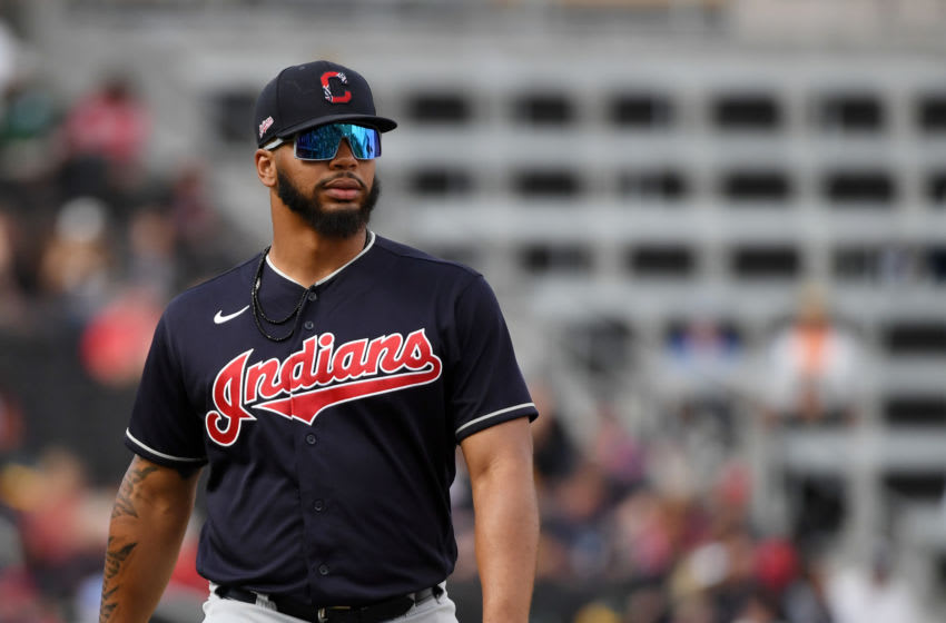 LAS VEGAS, NEVADA - FEBRUARY 29: Bobby Bradley #40 of the Cleveland Indians walks on the field during an exhibition game against the Oakland Athletics at Las Vegas Ballpark on February 29, 2020 in Las Vegas, Nevada. The Athletics defeated the Indians 8-6. (Photo by Ethan Miller/Getty Images)