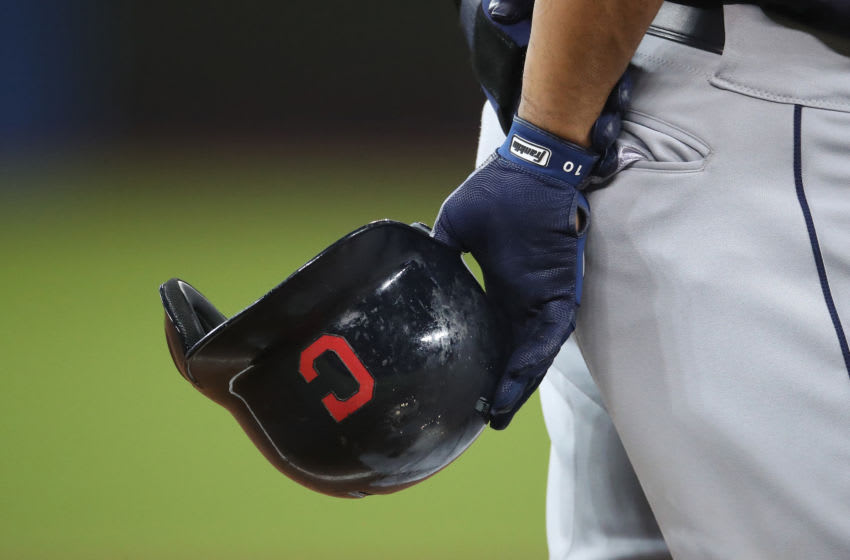 The Cleveland Indians helmet with a block C. (Photo by Tom Szczerbowski/Getty Images)