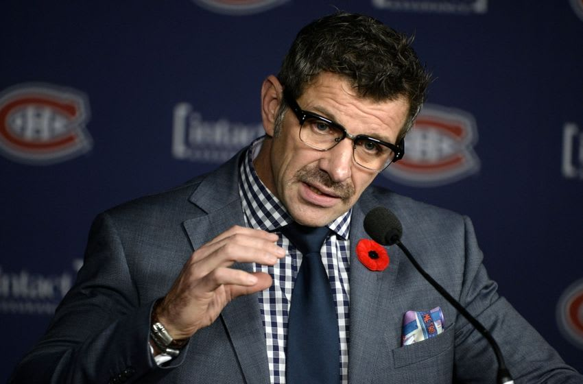Nov 11, 2014; Montreal, Quebec, CAN; Montreal Canadiens general manager Marc Bergevin speaks at a press conference before the game against the Winnipeg Jets at the Bell Centre. Mandatory Credit: Eric Bolte-USA TODAY Sports