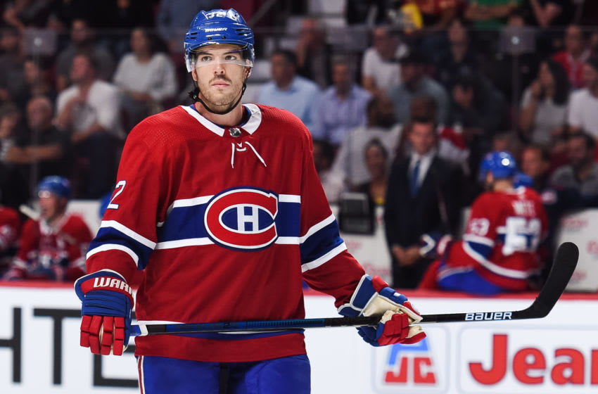 MONTREAL, QC - SEPTEMBER 17: Look on Montreal Canadiens defenseman Simon Despres (32) during the New Jersey Devils versus the Montreal Canadiens preseason game on September 17, 2018, at Bell Centre in Montreal, QC (Photo by David Kirouac/Icon Sportswire via Getty Images)