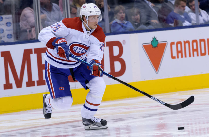 TORONTO, ON - SEPTEMBER 24: Montreal Canadiens Left Wing Jacob De La Rose (25) skates with the puck during the NHL preseason game between the Montreal Canadiens and the Toronto Maple Leafs on September 24, 2018, at Scotiabank Arena in Toronto, ON, Canada. (Photo by Julian Avram/Icon Sportswire via Getty Images)