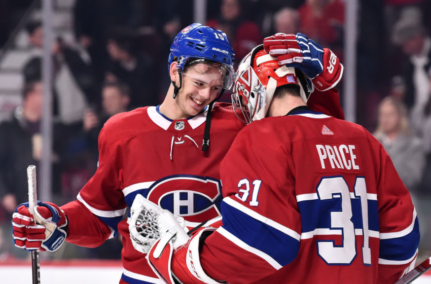 MONTREAL, QC - NOVEMBER 01: Jesperi Kotkaniemi #15 of the Montreal Canadiens celebrates a victory with goaltender Carey Price #31 against the Washington Capitals during the NHL game at the Bell Centre on November 1, 2018 in Montreal, Quebec, Canada. The Montreal Canadiens defeated the Washington Capitals 6-4. (Photo by Minas Panagiotakis/Getty Images)