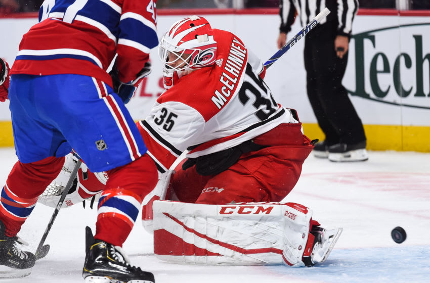 MONTREAL, QC - NOVEMBER 27: Carolina Hurricanes goalie Curtis McElhinney (35) can't make the save and allows a goal during the Carolina Hurricanes versus the Montreal Canadiens game on November 27, 2018, at Bell Centre in Montreal, QC (Photo by David Kirouac/Icon Sportswire via Getty Images)