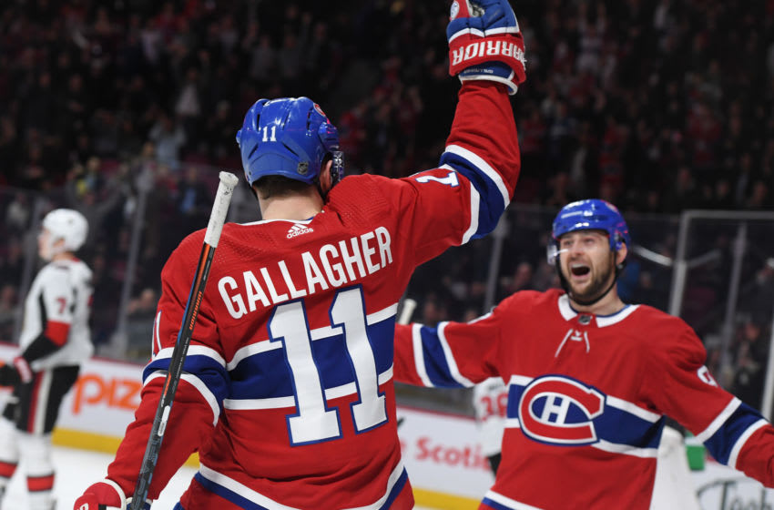 MONTREAL, QC - DECEMBER 4: Brendan Gallagher #11 of the Montreal Canadiens celebrates with Tomas Tatar #90 after scoring a goal against the Ottawa Senators in the NHL game at the Bell Centre on December 4, 2018 in Montreal, Quebec, Canada. (Photo by Francois Lacasse/NHLI via Getty Images)
