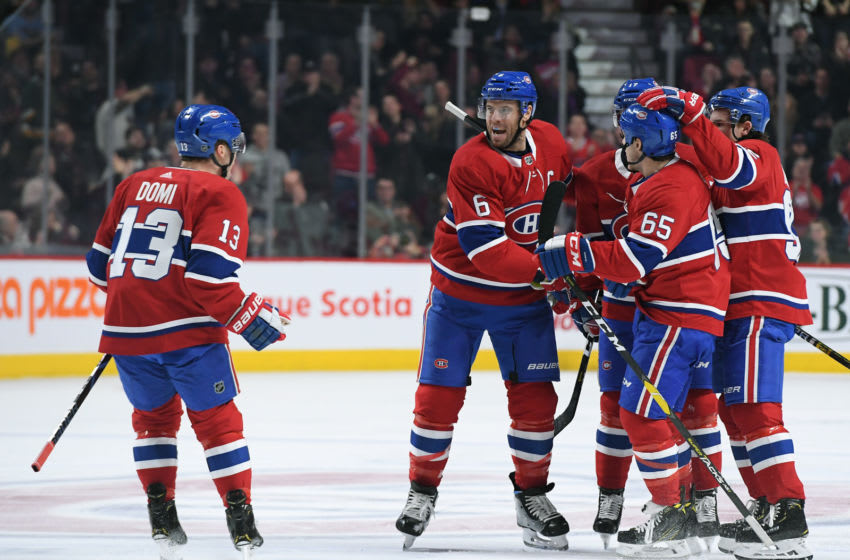 MONTREAL, QC - DECEMBER 1: Shea Weber #6, Max Domi #13, Andrew Shaw #65, Brett Kulak #17 and Jonathan Drouin #92 of the Montreal Canadiens celebrate after scoring a goal against the New York Rangers in the NHL game at the Bell Centre on December 1, 2018 in Montreal, Quebec, Canada. (Photo by Francois Lacasse/NHLI via Getty Images)