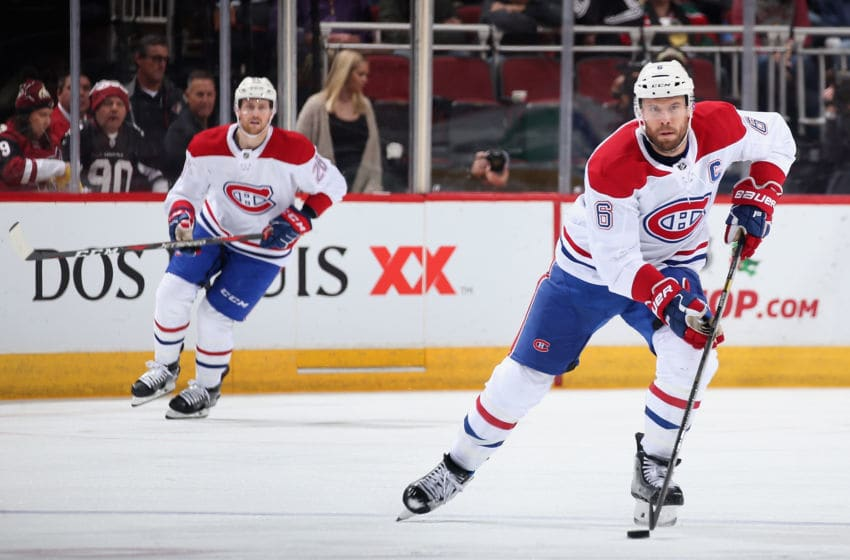 GLENDALE, ARIZONA - DECEMBER 20: Shea Weber #6 of the Montreal Canadiens skates with the puck during the second period of the NHL game against the Arizona Coyotes at Gila River Arena on December 20, 2018 in Glendale, Arizona. (Photo by Christian Petersen/Getty Images)