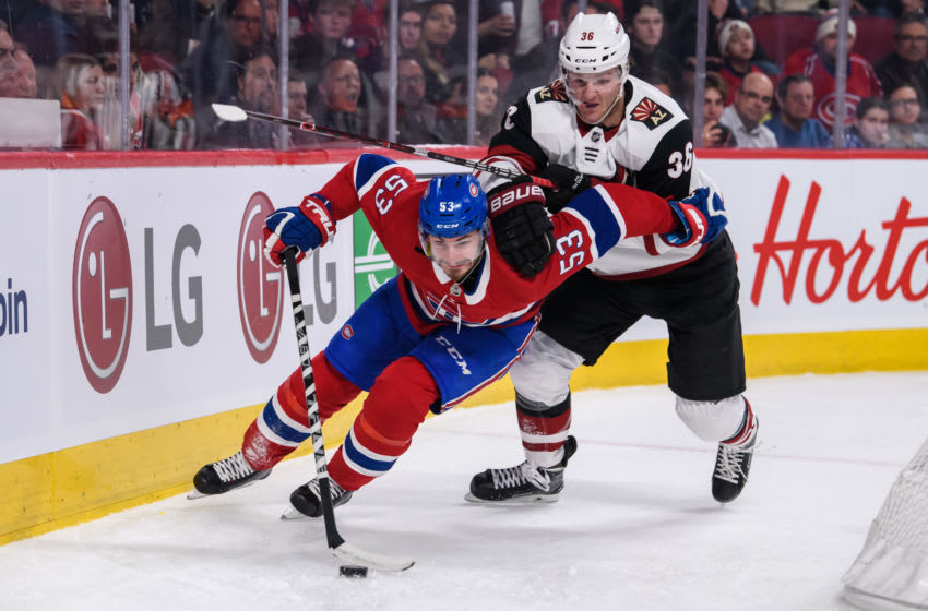 MONTREAL, QC - JANUARY 23: Montreal Canadiens defenseman Victor Mete (53) skates around the net while being chased by Arizona Coyotes right wing Christian Fischer (36) during the third period of the NHL game between the Arizona Coyotes and the Montreal Canadiens on January 23, 2019, at the Bell Centre in Montreal, QC (Photo by Vincent Ethier/Icon Sportswire via Getty Images)