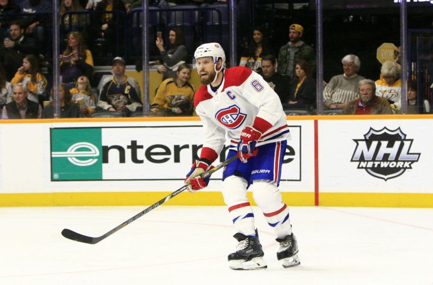 NASHVILLE, TN - FEBRUARY 14: Montreal Canadiens defenseman Shea Weber (6) is shown during the NHL game between the Nashville Predators and Montreal Canadiens, held on February 14, 2019, at Bridgestone Arena in Nashville, Tennessee. (Photo by Danny Murphy/Icon Sportswire via Getty Images)