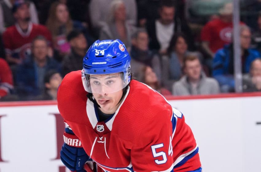 MONTREAL, QC - FEBRUARY 19: Montreal Canadiens left wing Charles Hudon (54) waits for play to begin during the first period of the NHL game between the Columbus Blue Jackets and the Montreal Canadiens on february 19, 2019, at the Bell Centre in Montreal, QC(Photo by Vincent Ethier/Icon Sportswire via Getty Images)