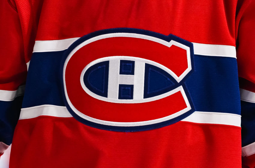 MONTREAL, QC - MARCH 23: General view of the Montreal canadiens logo on a jersey during the Buffalo Sabres versus the Montreal Canadiens game on March 23, 2019, at Bell Centre in Montreal, QC (Photo by David Kirouac/Icon Sportswire via Getty Images)