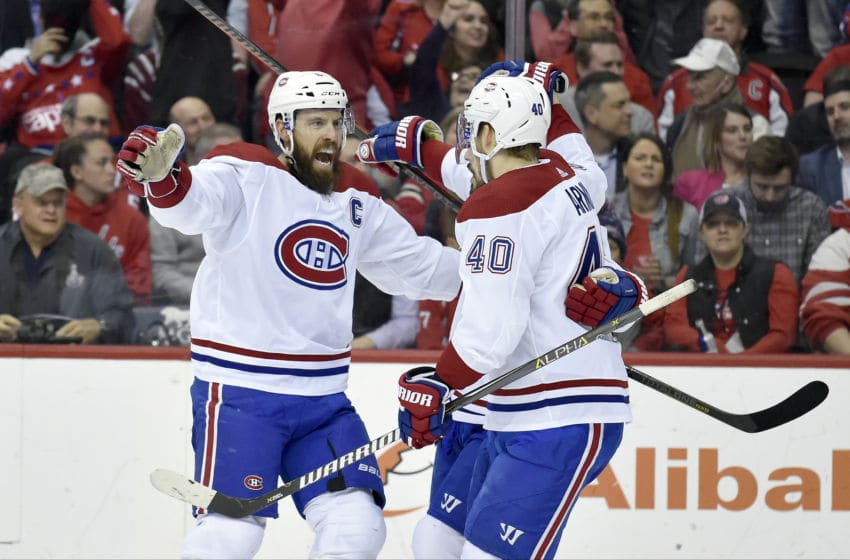 WASHINGTON, DC - APRIL 04: Montreal Canadiens defenseman Shea Weber (6), center Phillip Danault (24), and right wing Joel Armia (40) celebrate after a goal at the end of the first period during the Montreal Canadiens vs. Washington Capitals NHL hockey game April 4, 2019 at Capital One Arena in Washington, D.C.. (Photo by Randy Litzinger/Icon Sportswire via Getty Images)