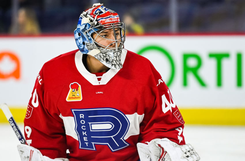 LAVAL, QC - APRIL 03: Look on Laval Rocket goalie Michael McNiven (40) at warm-up before the Cleveland Monsters versus the Laval Rocket game on April 03, 2019, at Place Bell in Laval, QC (Photo by David Kirouac/Icon Sportswire via Getty Images)
