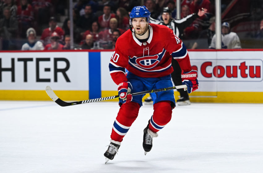 MONTREAL, QC - APRIL 06: Look on Montreal Canadiens right wing Joel Armia (40) during the Toronto Maple Leafs versus the Montreal Canadiens game on April 06, 2019, at Bell Centre in Montreal, QC (Photo by David Kirouac/Icon Sportswire via Getty Images)