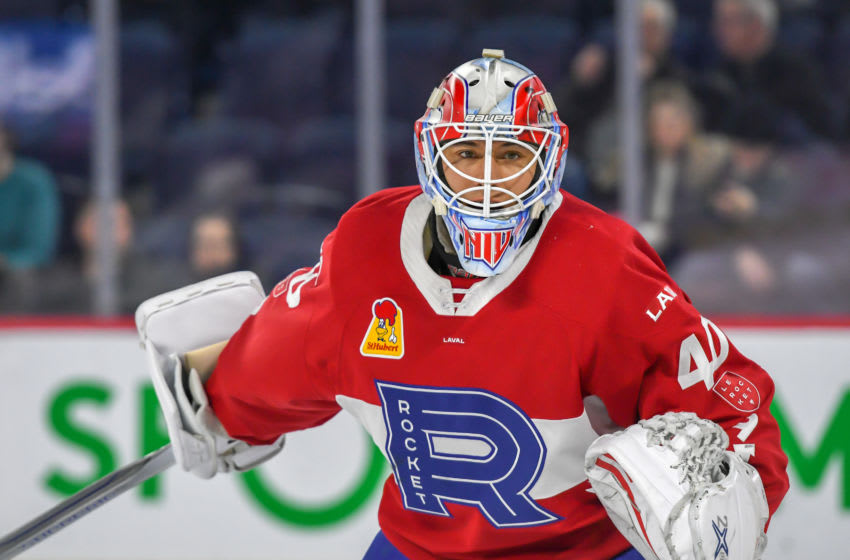LAVAL, QC, CANADA - MARCH 13: Michael McNiven #40 of the Laval Rocket looks on during a match against the Syracuse Crunch at Place Bell on March 13, 2019 in Laval, Quebec. (Photo by Stephane Dube/Getty Images)
