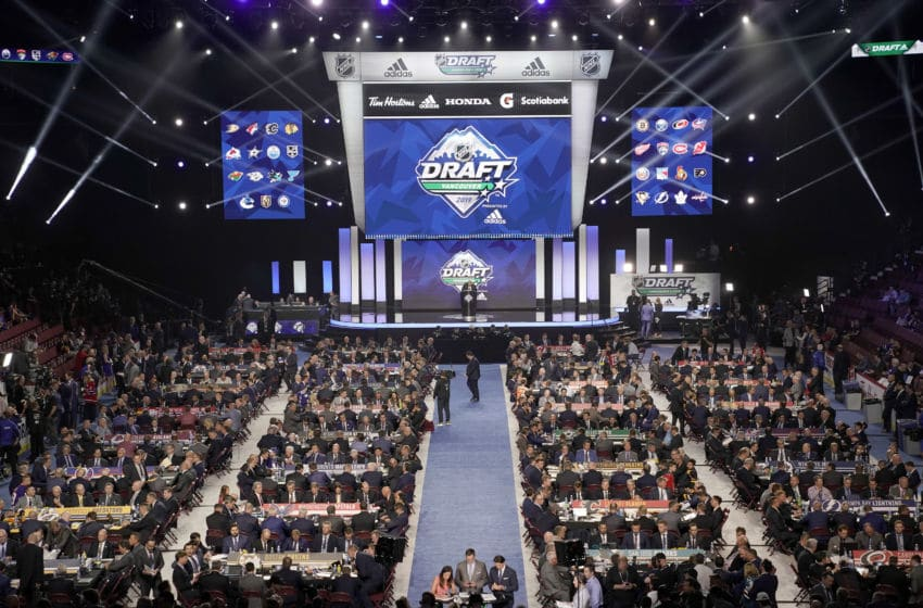 VANCOUVER, BRITISH COLUMBIA - JUNE 21: A general view of the draft floor prior to the first round of the 2019 NHL Draft at Rogers Arena on June 21, 2019 in Vancouver, Canada. (Photo by Rich Lam/Getty Images)