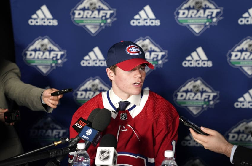 VANCOUVER, BRITISH COLUMBIA - JUNE 21: Cole Caufield speaks to the media after being selected fifteenth overall by the Montreal Canadiens during the first round of the 2019 NHL Draft at Rogers Arena on June 21, 2019 in Vancouver, Canada. (Photo by Rich Lam/Getty Images)