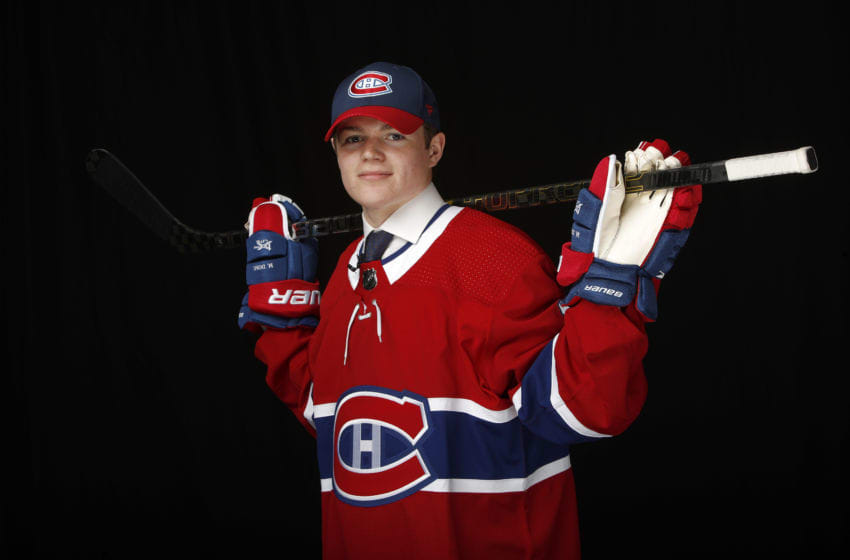VANCOUVER, BRITISH COLUMBIA - JUNE 21: Cole Caufield poses for a portrait after being selected fifteenth overall by the Montreal Canadiens during the first round of the 2019 NHL Draft at Rogers Arena on June 21, 2019 in Vancouver, Canada. (Photo by Kevin Light/Getty Images)