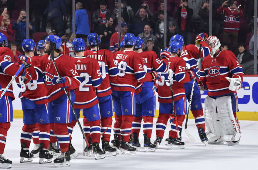 MONTREAL, QC - NOVEMBER 5: Montreal Canadiens' players celebrate after defeating the Boston Bruins in the NHL game at the Bell Centre on November 5, 2019 in Montreal, Quebec, Canada. (Photo by Francois Lacasse/NHLI via Getty Images)