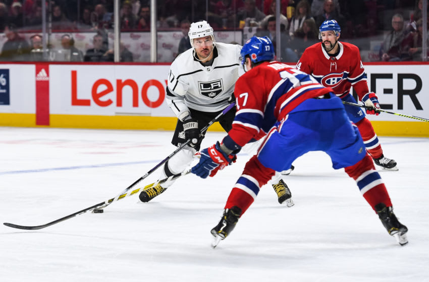MONTREAL, QC - NOVEMBER 09: Los Angeles Kings left wing Ilya Kovalchuk (17) shoots the puck during the Los Angeles Kings versus the Montreal Canadiens game on November 09, 2019, at Bell Centre in Montreal, QC (Photo by David Kirouac/Icon Sportswire via Getty Images)