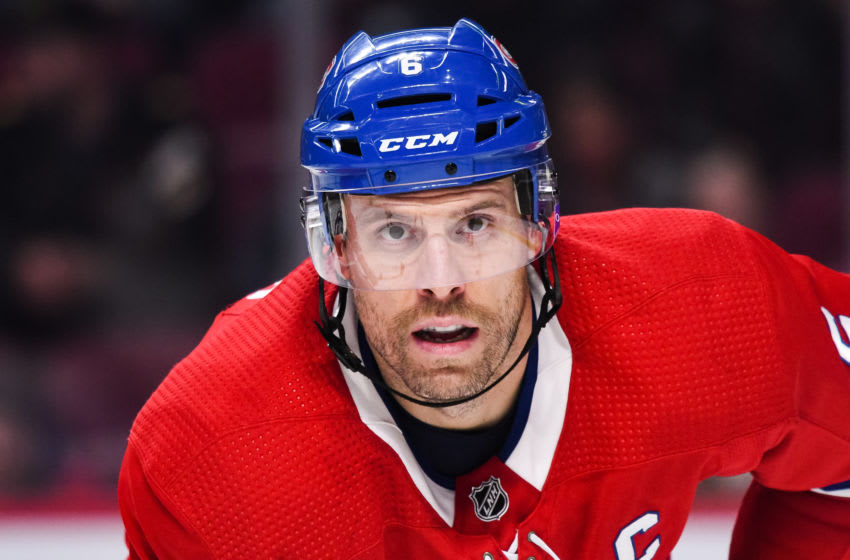 MONTREAL, QC - NOVEMBER 09: Montreal Canadiens defenceman Shea Weber (6) waits for a faceoff during the Los Angeles Kings versus the Montreal Canadiens game on November 09, 2019, at Bell Centre in Montreal, QC (Photo by David Kirouac/Icon Sportswire via Getty Images)