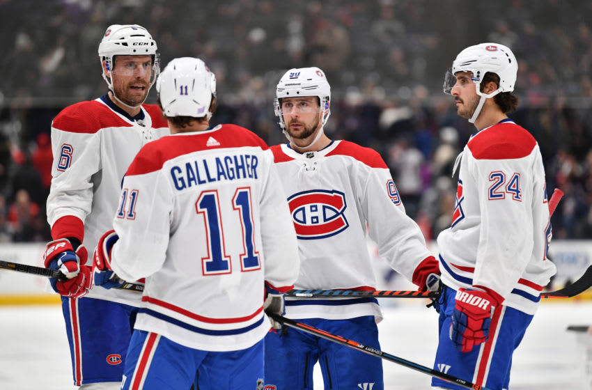 COLUMBUS, OH - NOVEMBER 19: Teammates Shea Weber #6, Brendan Gallagher #11, Tomas Tatar #90 and Phillip Danault #24 of the Montreal Canadiens talk during the second period of a game against the Columbus Blue Jackets on November 19, 2019 at Nationwide Arena in Columbus, Ohio. (Photo by Jamie Sabau/NHLI via Getty Images)