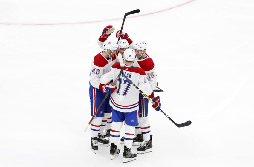 BOSTON, MA - DECEMBER 01: Montreal celebrates the goal from Montreal Canadiens right wing Joel Armia (40) during a game between the Boston Bruins and the Montreal Canadiens on December 1, 2019, at TD Garden in Boston, Massachusetts. (Photo by Fred Kfoury III/Icon Sportswire via Getty Images)