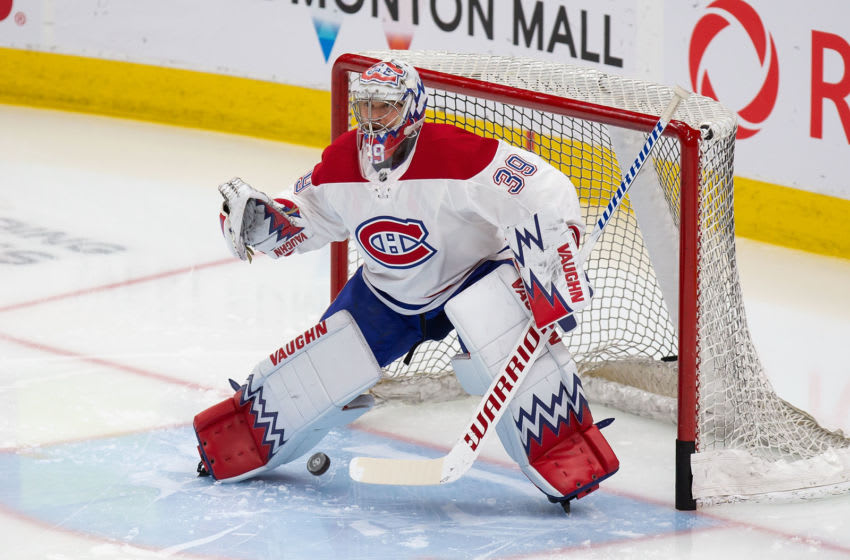 EDMONTON, AB - DECEMBER 21: Goaltender Charlie Lindgren #39 of the Montreal Canadiens skates against the Edmonton Oilers at Rogers Place on December 21, 2019, in Edmonton, Canada. (Photo by Codie McLachlan/Getty Images)