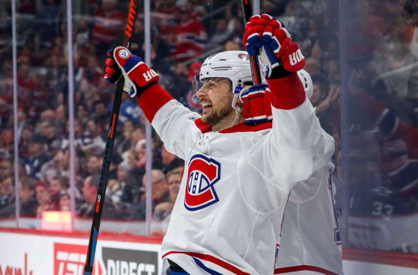 WINNIPEG, MB - DECEMBER 23: Tomas Tatar #90 of the Montreal Canadiens is all smiles as he celebrates his first period goal against the Winnipeg Jets at the Bell MTS Place on December 23, 2019 in Winnipeg, Manitoba, Canada. The Habs defeated the Jets 6-2. (Photo by Jonathan Kozub/NHLI via Getty Images)