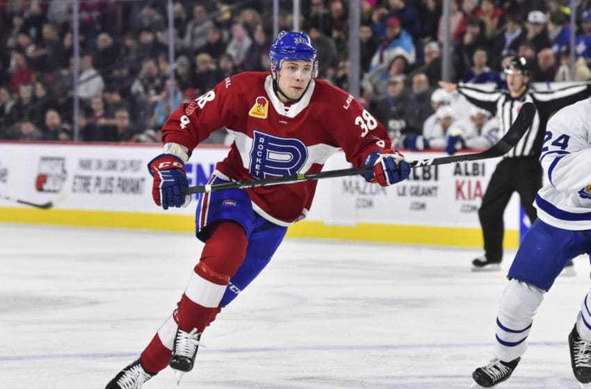 LAVAL, QC - DECEMBER 28: Yannick Veilleux #38 of the Laval Rocket. (Photo by Minas Panagiotakis/Getty Images)