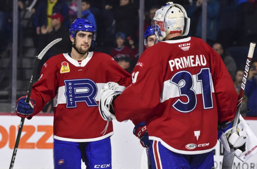 LAVAL, QC - DECEMBER 28: Josh Brook and Cayden Primeau (Photo by Minas Panagiotakis/Getty Images)