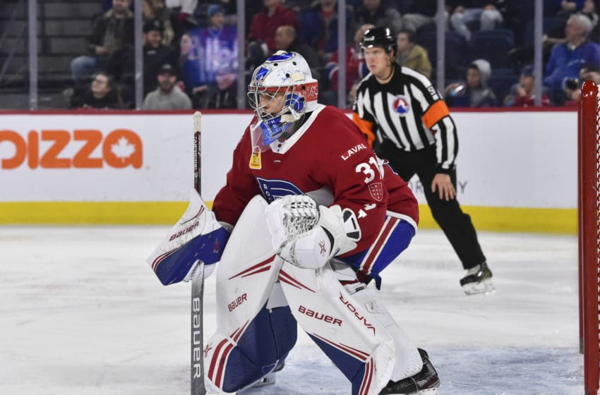 LAVAL, QC - DECEMBER 28: Cayden Primeau #31 of the Laval Rocket tends goal against the Toronto Marlies during the third period at Place Bell on December 28, 2019 in Laval, Canada. The Laval Rocket defeated the Toronto Marlies 6-1. (Photo by Minas Panagiotakis/Getty Images)