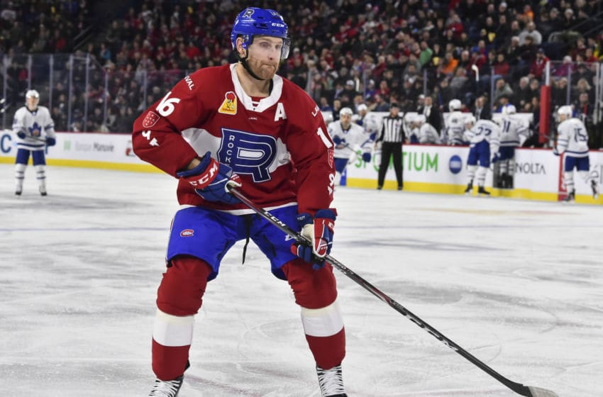 LAVAL, QC - DECEMBER 28: Karl Alzner #16 of the Laval Rocket skates against the Toronto Marlies during the third period at Place Bell on December 28, 2019 in Laval, Canada. The Laval Rocket defeated the Toronto Marlies 6-1. (Photo by Minas Panagiotakis/Getty Images)