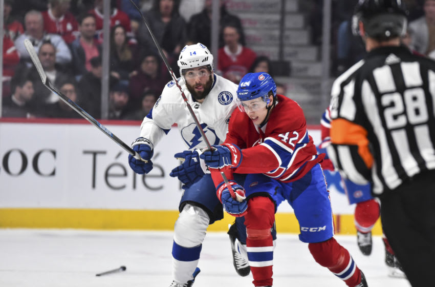 MONTREAL, QC - JANUARY 02: Lukas Vejdemo #42 of the Montreal Canadiens skates against Pat Maroon #14 of the Tampa Bay Lightning during the first period at the Bell Centre on January 2, 2020 in Montreal, Canada. The Tampa Bay Lightning defeated the Montreal Canadiens 2-1. (Photo by Minas Panagiotakis/Getty Images)