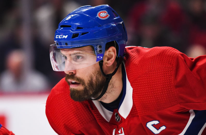 MONTREAL, QC - FEBRUARY 02: Look on Montreal Canadiens defenceman Shea Weber (6) during the Columbus Blue Jackets versus the Montreal Canadiens game on February 02, 2020, at Bell Centre in Montreal, QC (Photo by David Kirouac/Icon Sportswire via Getty Images)