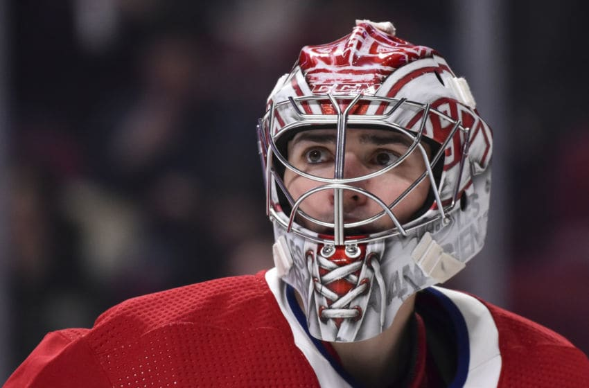 MONTREAL, QC - JANUARY 09: Goaltender Carey Price #31 of the Montreal Canadiens looks on during the third period against the Edmonton Oilers at the Bell Centre on January 9, 2020 in Montreal, Canada. The Edmonton Oilers defeated the Montreal Canadiens 4-2. (Photo by Minas Panagiotakis/Getty Images)