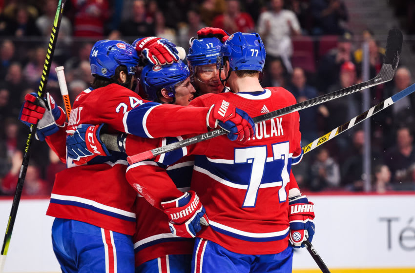 MONTREAL, QC - FEBRUARY 06: Montreal Canadiens right wing Brendan Gallagher (11) celebrates his goal with his teammates during the Anaheim Ducks versus the Montreal Canadiens game on February 06, 2020, at Bell Centre in Montreal, QC (Photo by David Kirouac/Icon Sportswire via Getty Images)