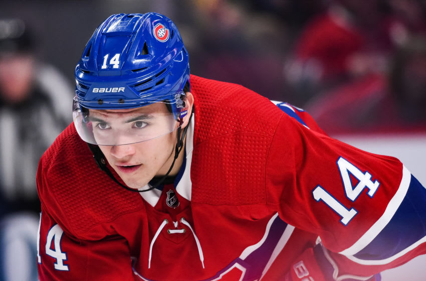 MONTREAL, QC - FEBRUARY 06: Montreal Canadiens center Nick Suzuki (14) waits for a faceoff during the Anaheim Ducks versus the Montreal Canadiens game on February 06, 2020, at Bell Centre in Montreal, QC (Photo by David Kirouac/Icon Sportswire via Getty Images)