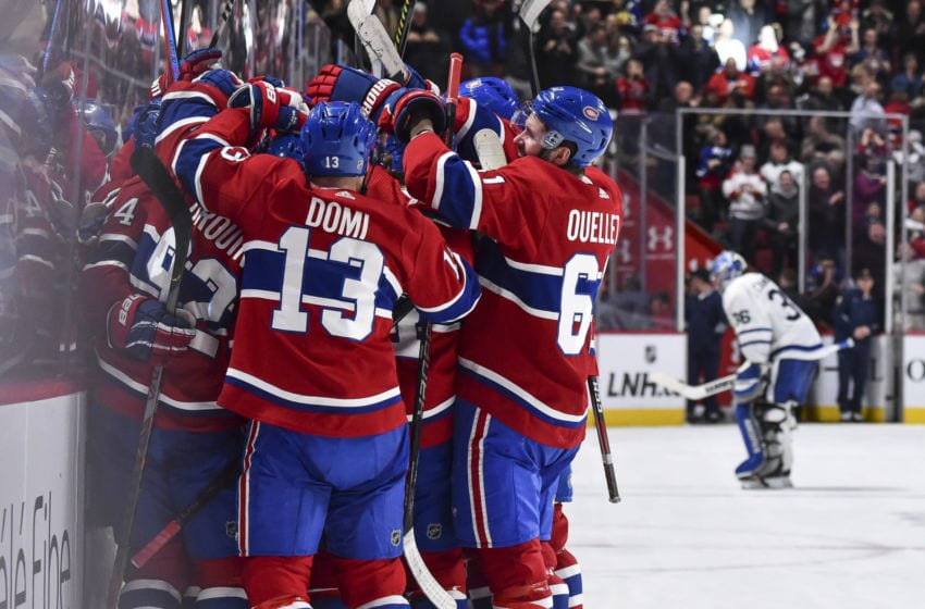 MONTREAL, QC - FEBRUARY 08: The Montreal Canadiens celebrate their overtime victory against the Toronto Maple Leafs at the Bell Centre on February 8, 2020 in Montreal, Canada. The Montreal Canadiens defeated the Toronto Maple Leafs 2-1 in overtime. (Photo by Minas Panagiotakis/Getty Images)