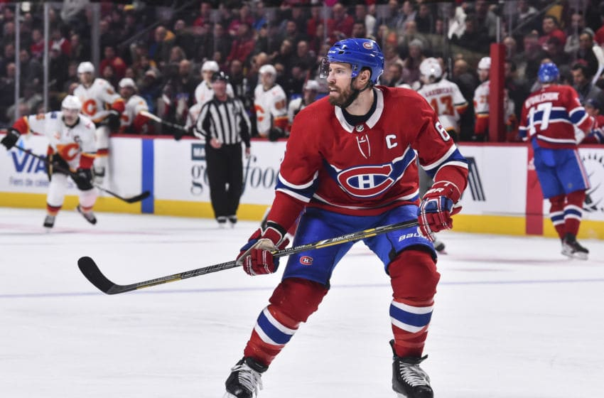 MONTREAL, QC - JANUARY 13: Shea Weber #6 of the Montreal Canadiens skates against the Calgary Flames during the third period at the Bell Centre on January 13, 2020 in Montreal, Canada. The Montreal Canadiens defeated the Calgary Flames 2-0. (Photo by Minas Panagiotakis/Getty Images)
