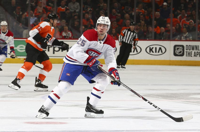 PHILADELPHIA, PA - JANUARY 16: Ryan Poehling #25 of the Montreal Canadiens looks on against the Philadelphia Flyers at the Wells Fargo Center on January 16, 2020 in Philadelphia, Pennsylvania. (Photo by Mitchell Leff/Getty Images)