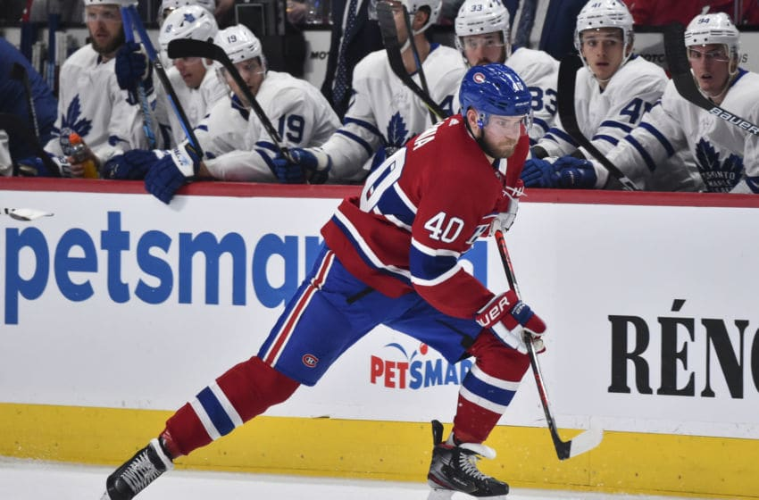 MONTREAL, QC - FEBRUARY 08: Joel Armia #40 of the Montreal Canadiens skates against the Toronto Maple Leafs during the second period at the Bell Centre on February 8, 2020 in Montreal, Canada. The Montreal Canadiens defeated the Toronto Maple Leafs 2-1 in overtime. (Photo by Minas Panagiotakis/Getty Images)