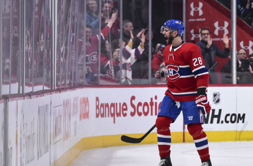 MONTREAL, QC - FEBRUARY 08: Marco Scandella #28 of the Montreal Canadiens celebrates his goal during the third period against the Toronto Maple Leafs at the Bell Centre on February 8, 2020 in Montreal, Canada. The Montreal Canadiens defeated the Toronto Maple Leafs 2-1 in overtime. (Photo by Minas Panagiotakis/Getty Images)