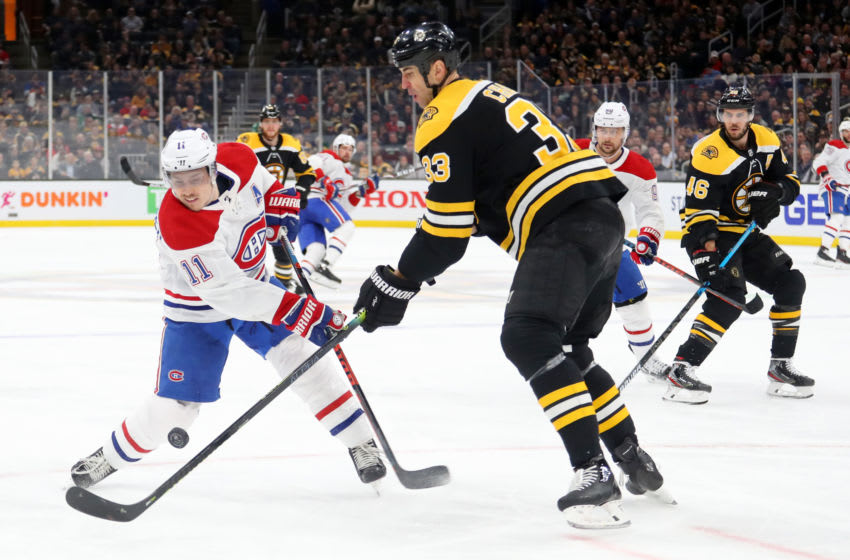 BOSTON, MASSACHUSETTS - FEBRUARY 12: Zdeno Chara #33 of the Boston Bruins defends Brendan Gallagher #11 of the Montreal Canadiens during the second period at TD Garden on February 12, 2020 in Boston, Massachusetts. (Photo by Maddie Meyer/Getty Images)
